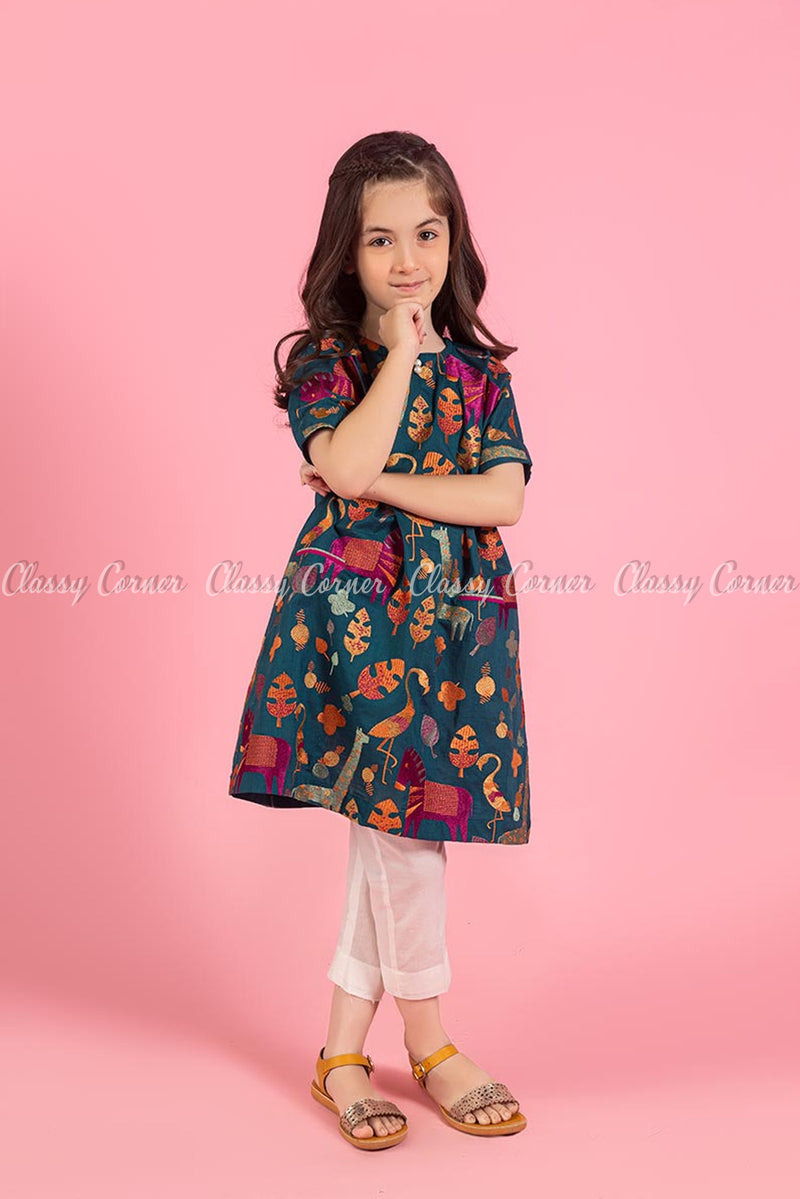 Animal and Leafy Embroidery Design Teal Kids Salwar Kameez