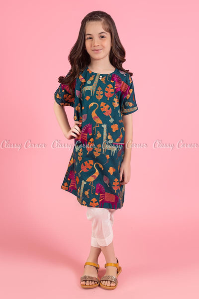 Animal and Leafy Embroidery Design Teal Kids Salwar Kameez - full front view