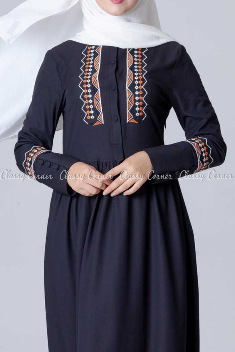 Aztec Embroidery Design Black Modest Long Dress