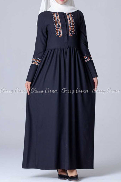Aztec Embroidery Design Black Modest Long Dress - full front view