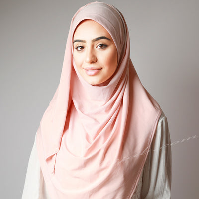 Light Baby Pink Blush Stretchy Instant Plain Hijab