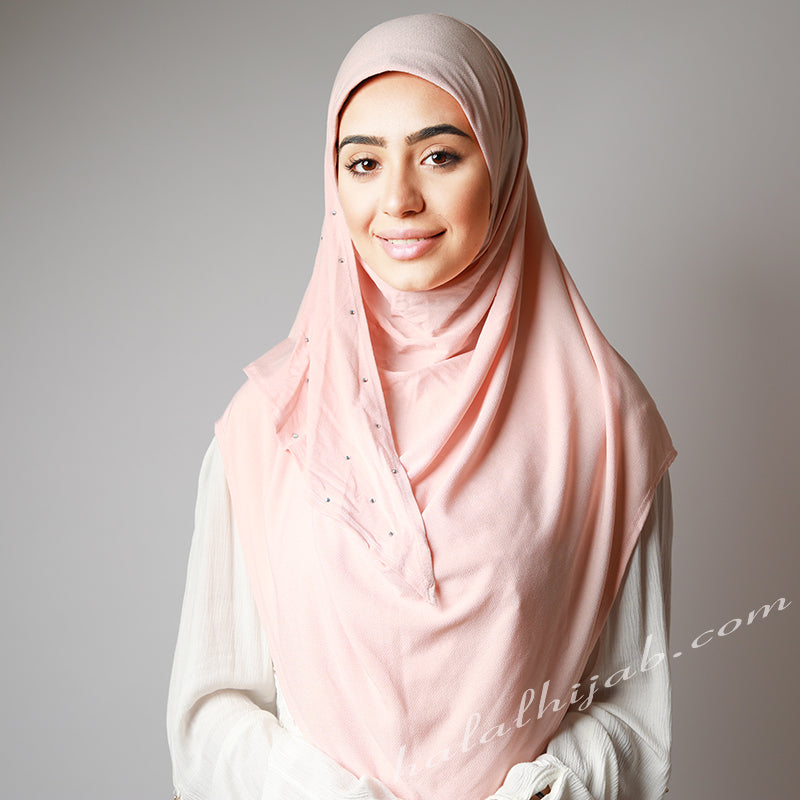 Light Baby Pink Blush Crystal Dotted Stretchy Instant Party Hijab