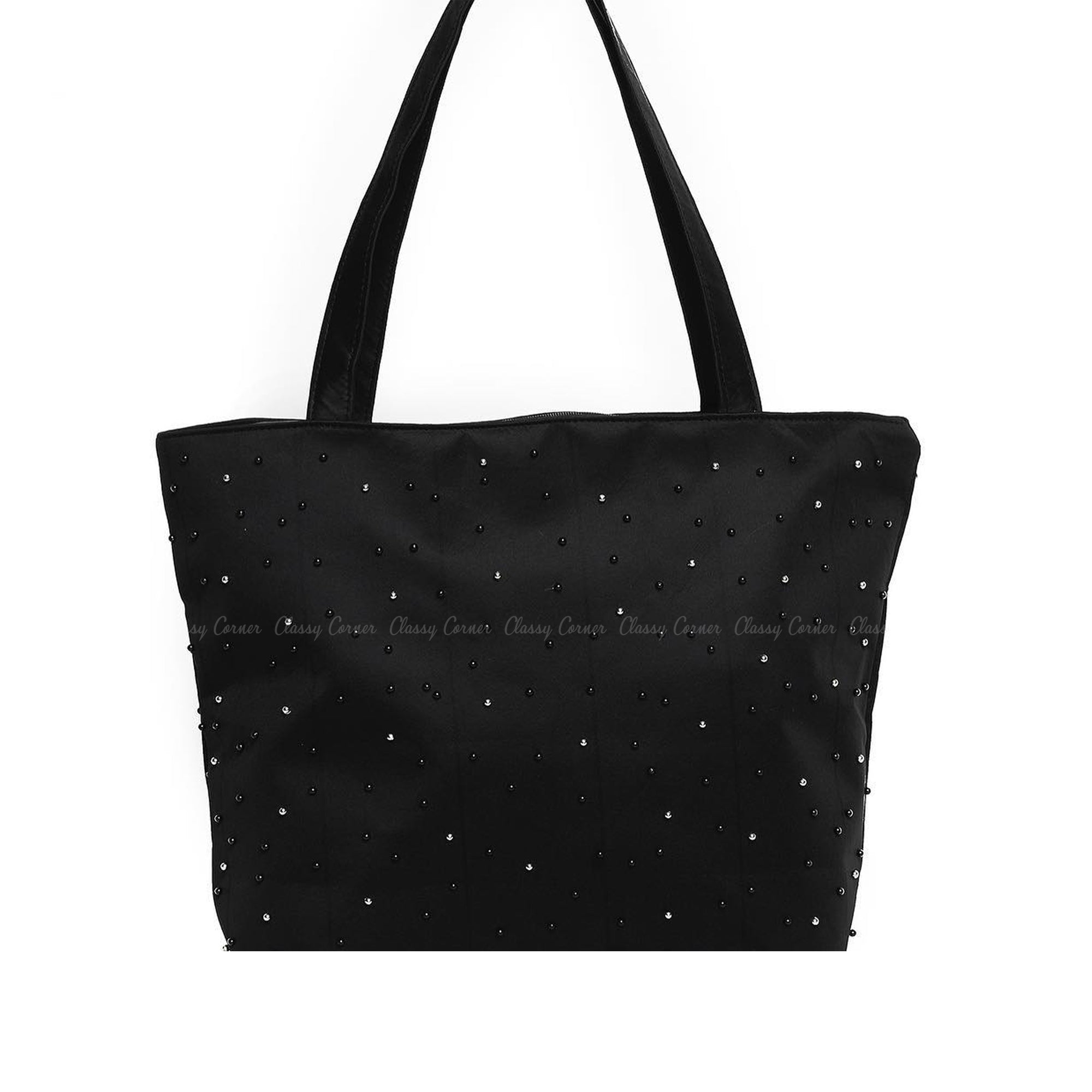 Black Silver Beads Design with Zipper Black Beach Tote Bag