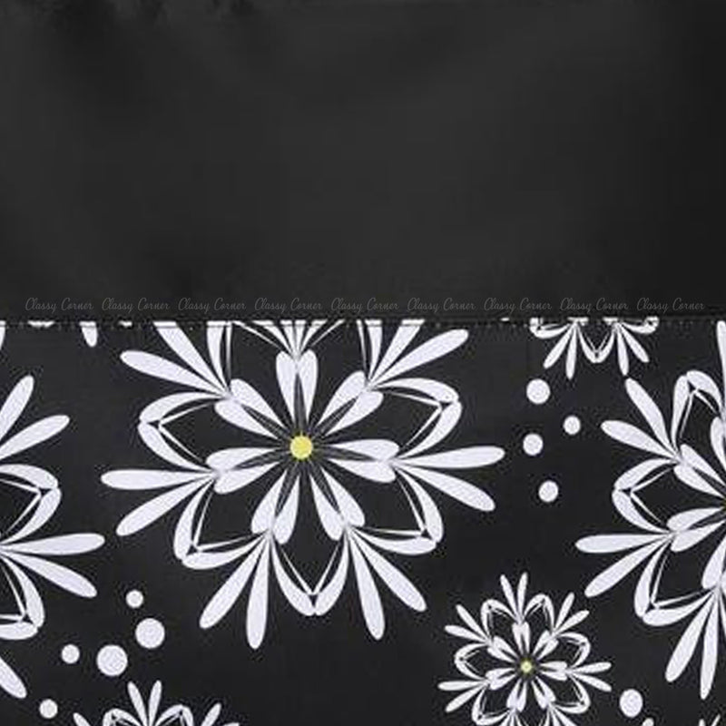 Black and White Floral Print Black Beach Bag