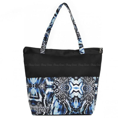 Blue Abstract Print Design with Zipper Black Beach Tote Bag