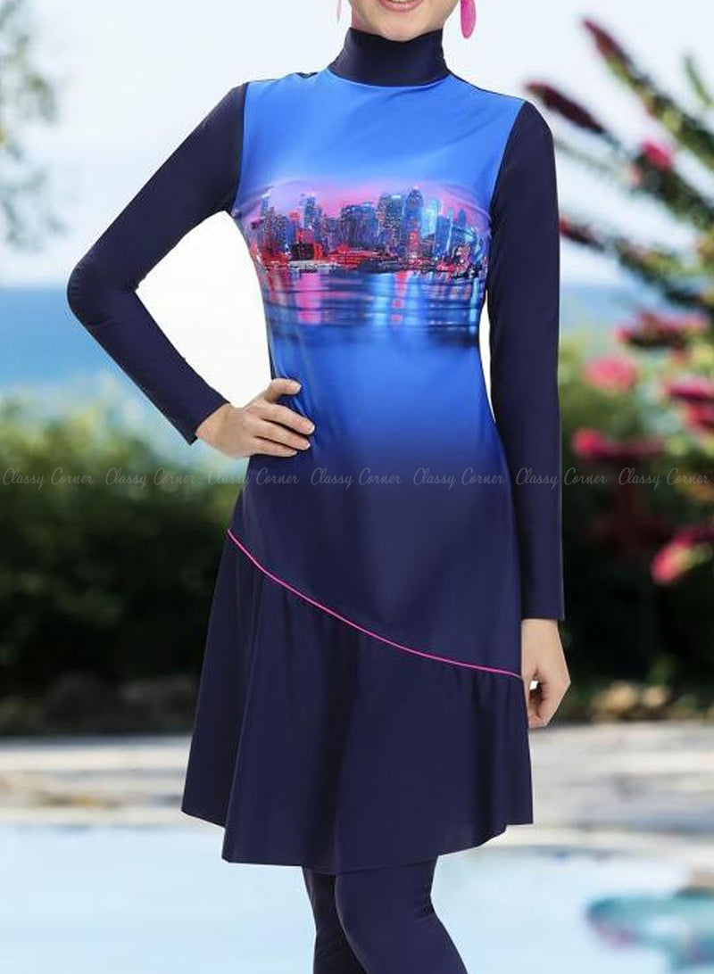 Blue City View Design Full Bodysuit Swimsuit