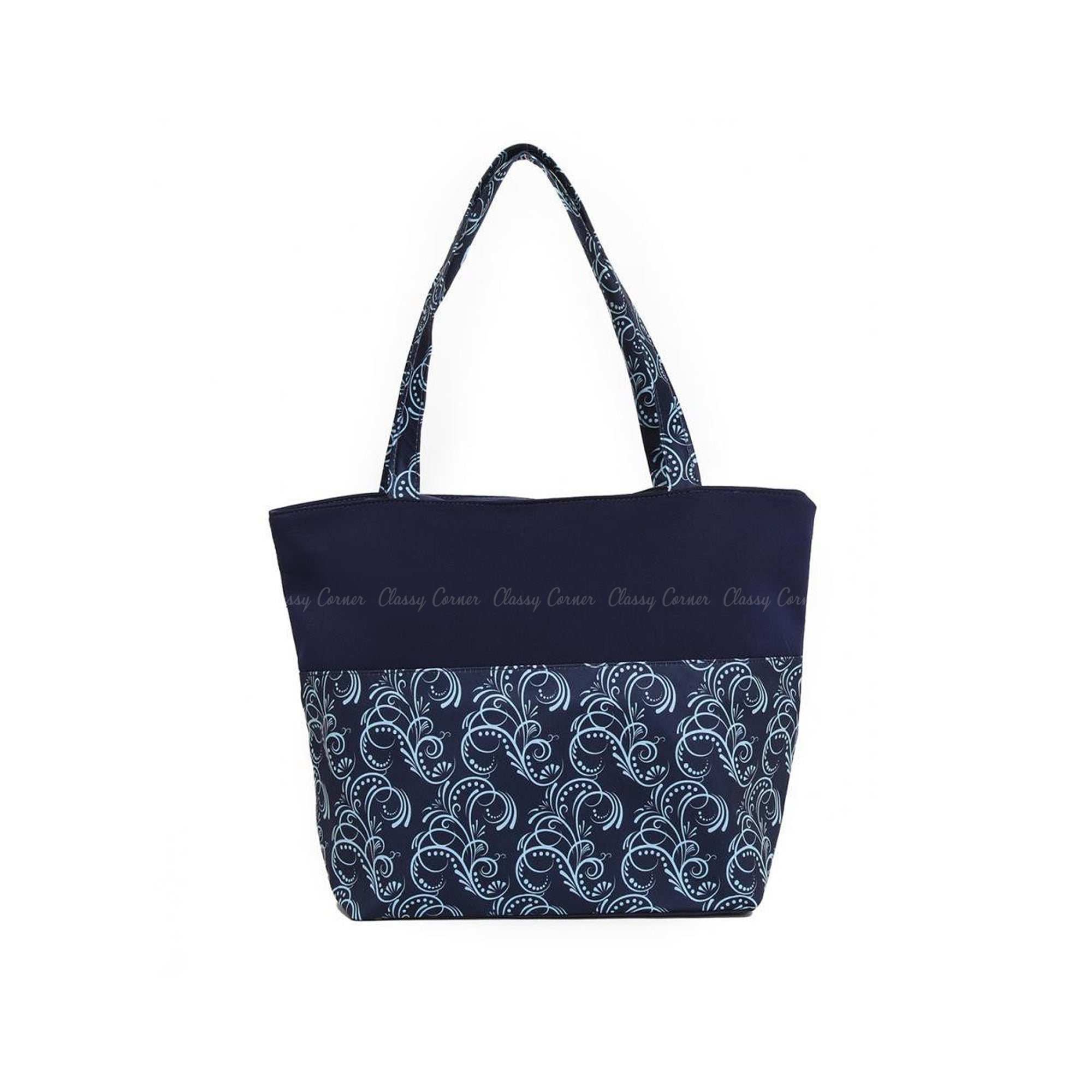 Blue Cursive Lines Print with Zipper Navy Blue Beach Tote Bag