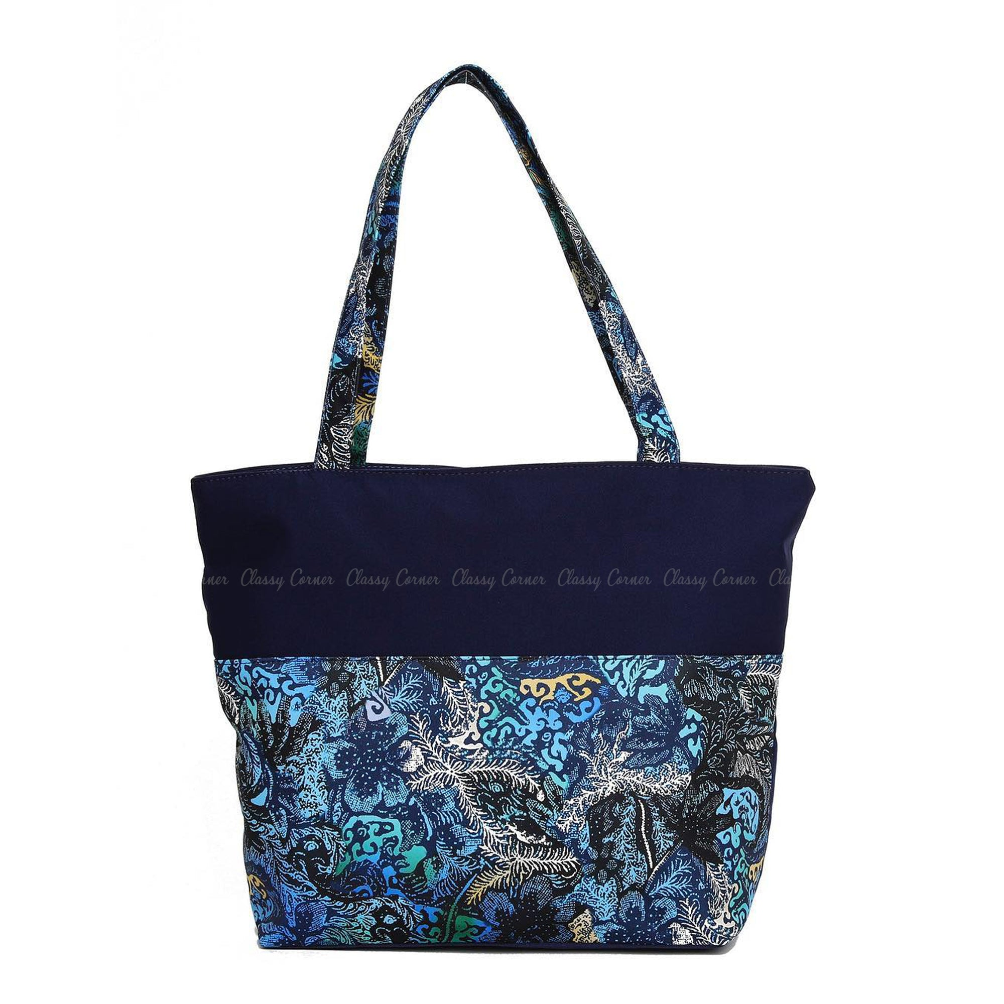 Blue Green Leafy Abstract Prints with Zipper Navy Blue Beach  Tote Bag