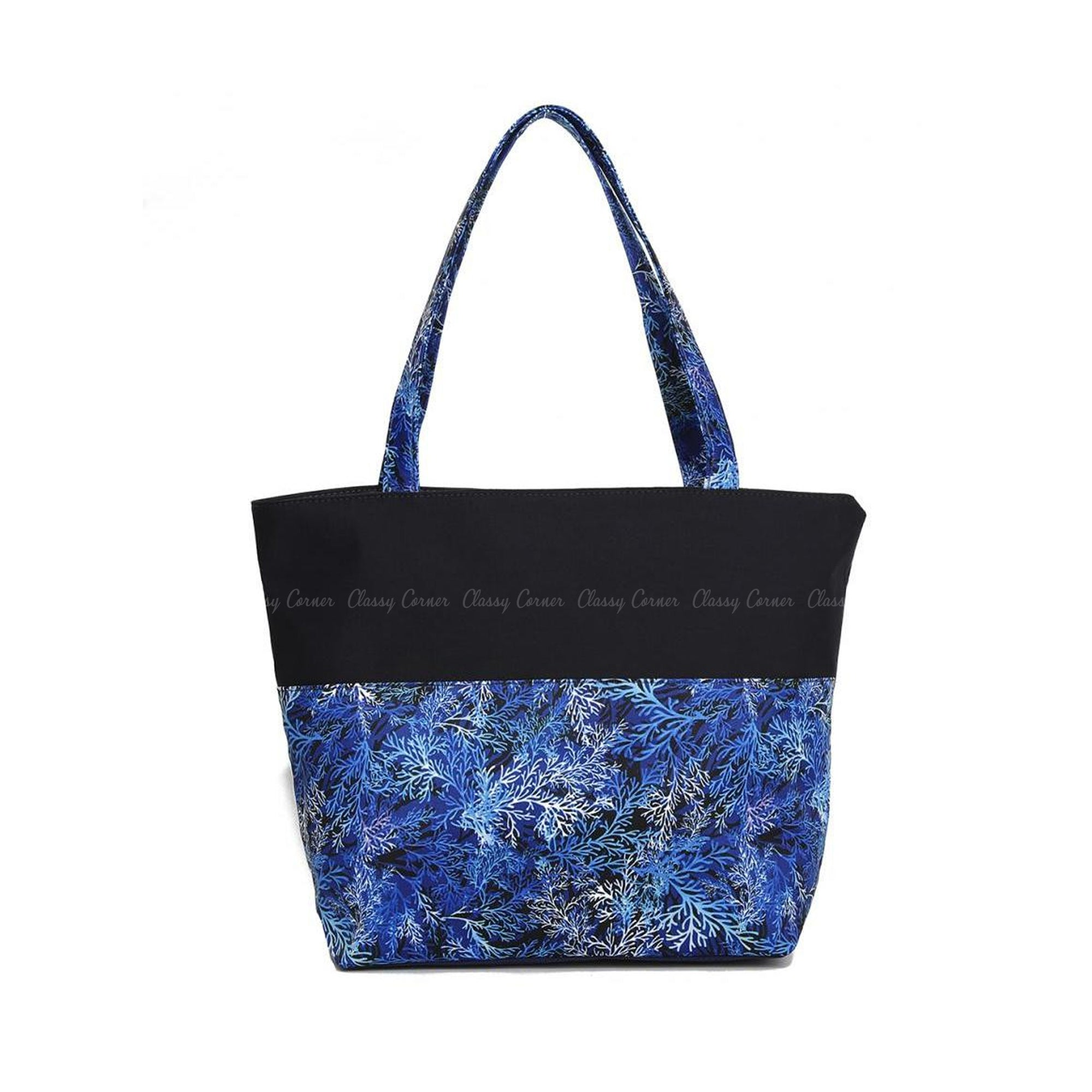 Blue Shades Leafy Prints with Zipper  Black Beach Tote Bag