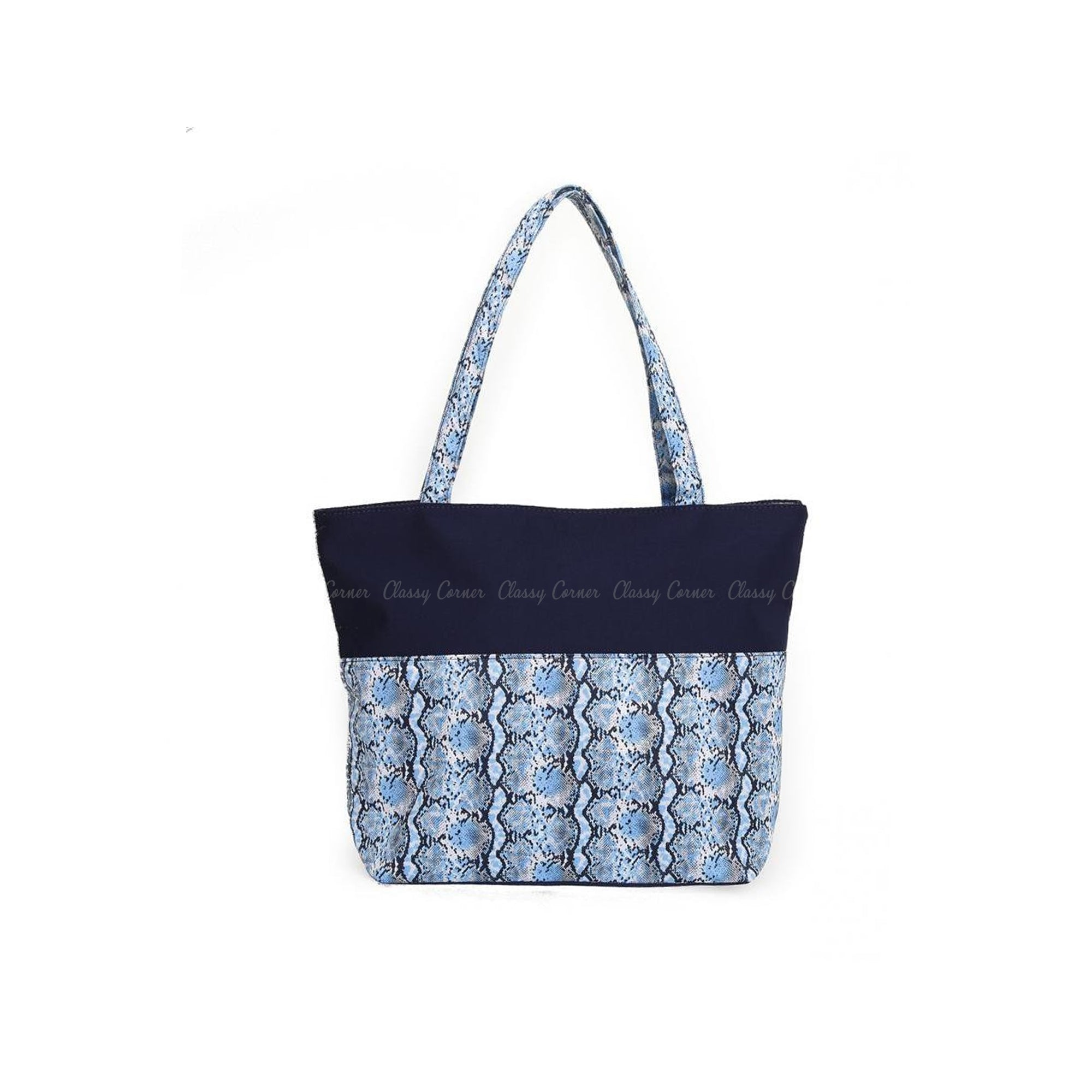 Blue Snake Print Design with Zip Navy Blue Beach Tote Bag