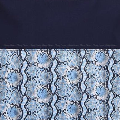 Blue Snake Print Design with Zip Navy Blue Beach Tote Bag Closed Up