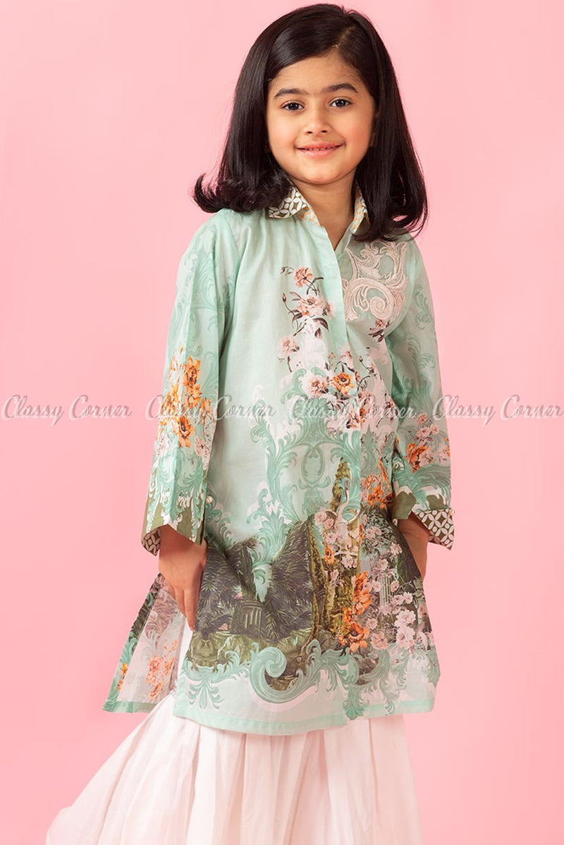 Botanical Print and Embroidery Green White Kids Salwar Kameez