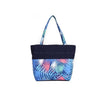 Bright Colored Leafy Design with Zip Navy Blue Beach Tote Bag