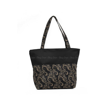 Brown Elegant Cursive Lines Prints with Zipper Black Beach Tote Bag