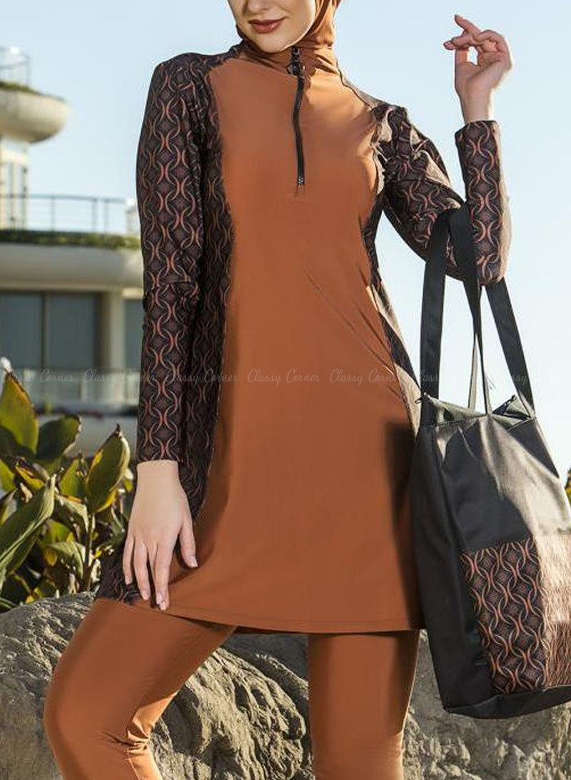 Burnt Brown Elegant Illusion Printed Design Swimsuit