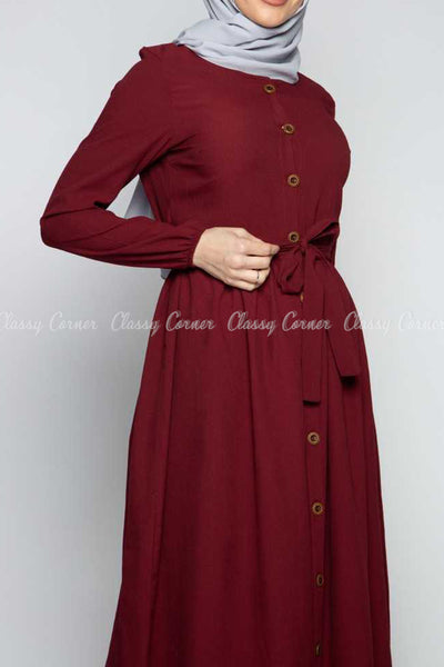 Button Down Maroon Modest Long Dress - design details