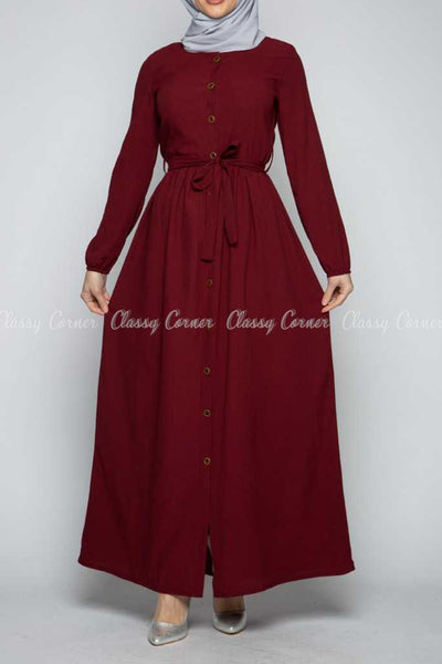Button Down Maroon Modest Long Dress - full front view