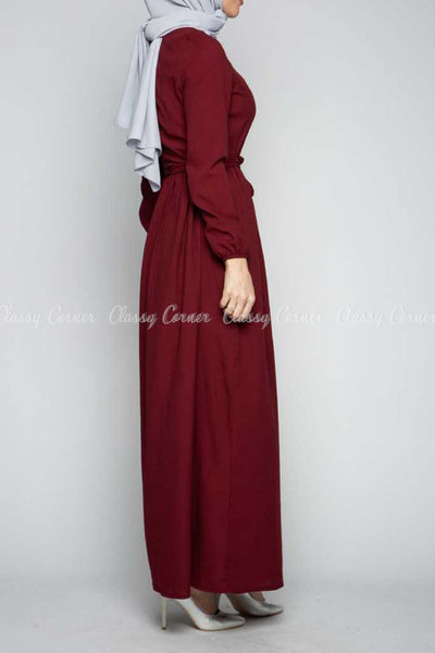 Button Down Maroon Modest Long Dress - left side view