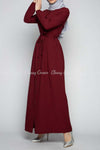Button Down Maroon Modest Long Dress - right side view