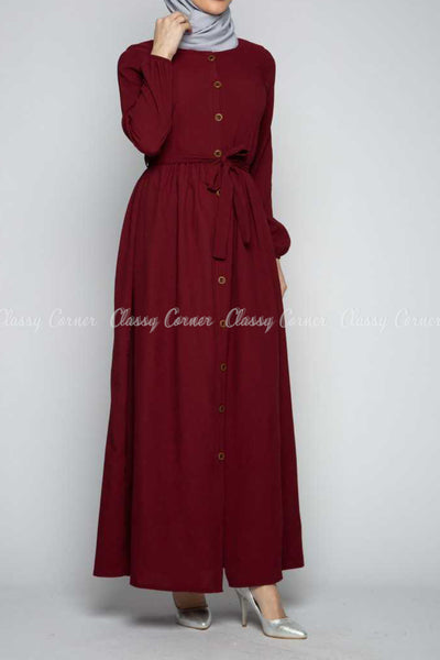 Button Down Maroon Modest Long Dress - side details