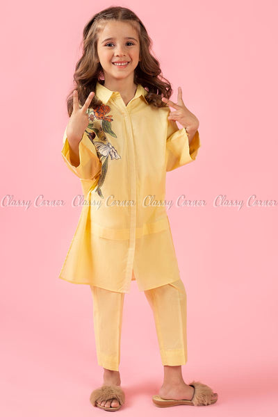 Classic Floral Print Yellow Kids Salwar Kameez - full front view