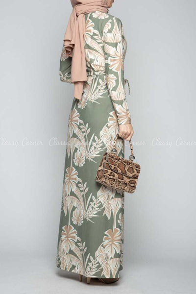 Classic Leaf Prints Green Modest Long Dress - back view