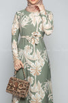 Classic Leaf Prints Green Modest Long Dress - closer view