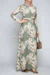 Classic Leaf Prints Green Modest Long Dress - front view