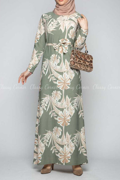 Classic Leaf Prints Green Modest Long Dress - full front view