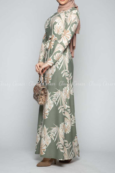 Classic Leaf Prints Green Modest Long Dress - right side view