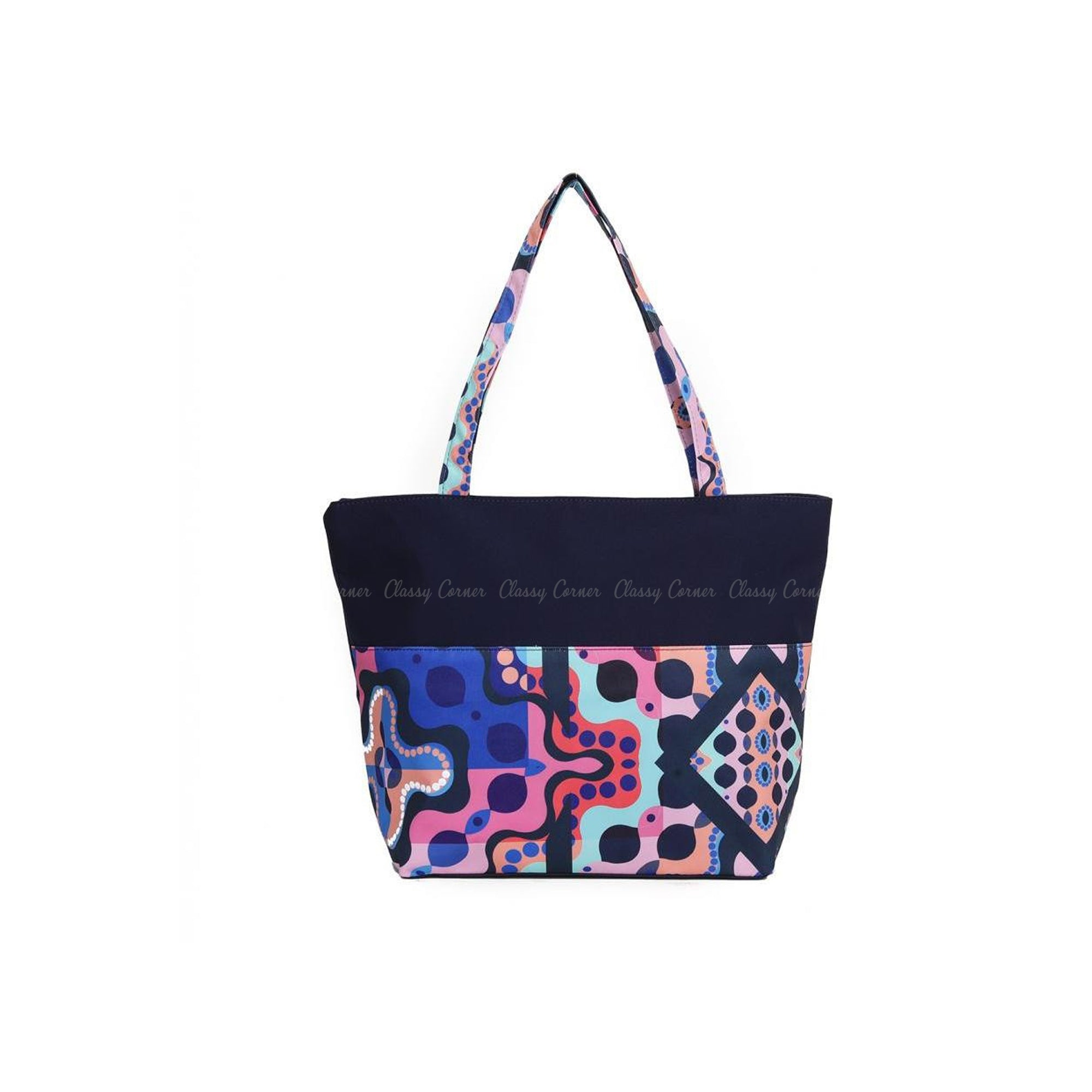 Multicolour Abstract Prints with Zip Navy Blue Beach Tote Bag