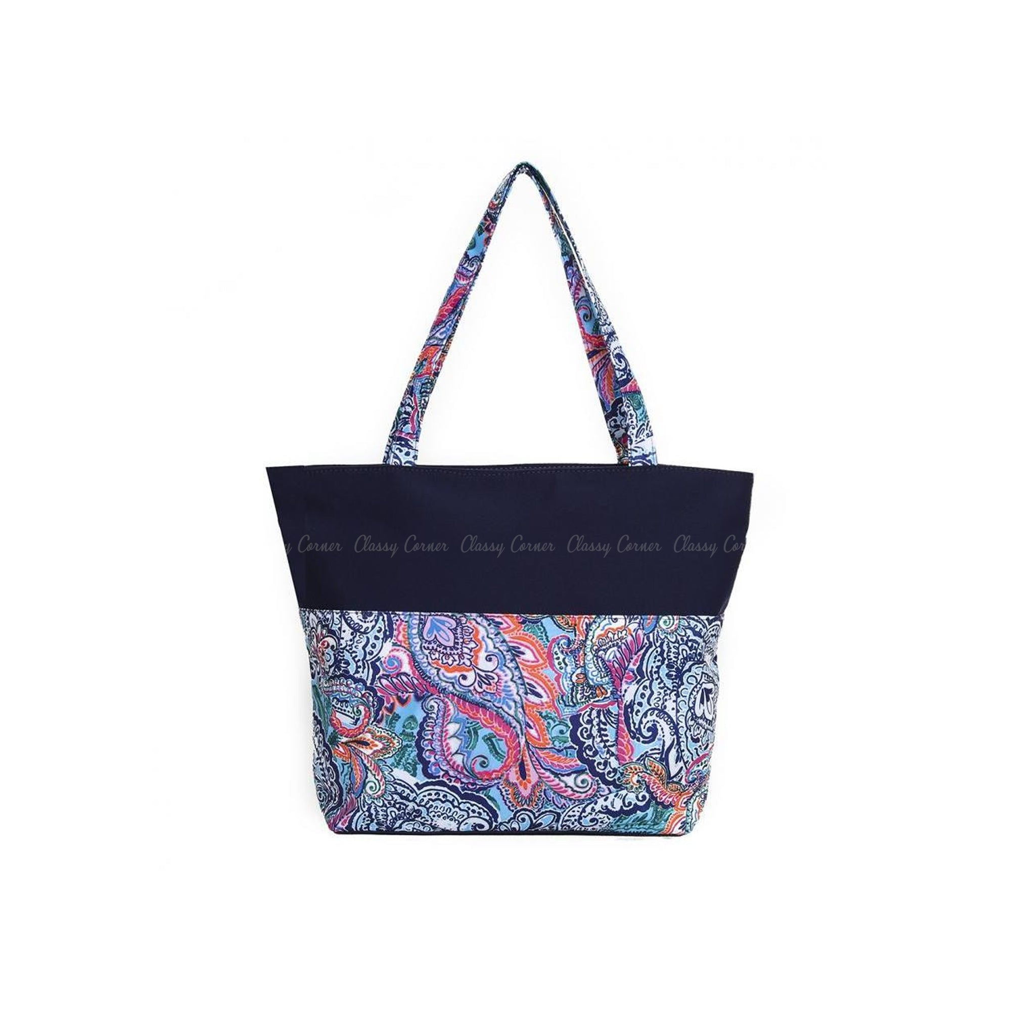 Multicolour Mandala Prints with zip Navy Blue Beach Tote Bag