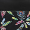 Multicolour Peacock Feathers Print with Zipper Black Beach Tote Bag Closed Up