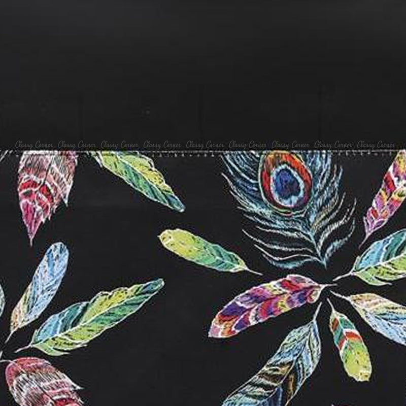 Multicolour Peacock Feathers Print with Zipper Black Beach Tote Bag