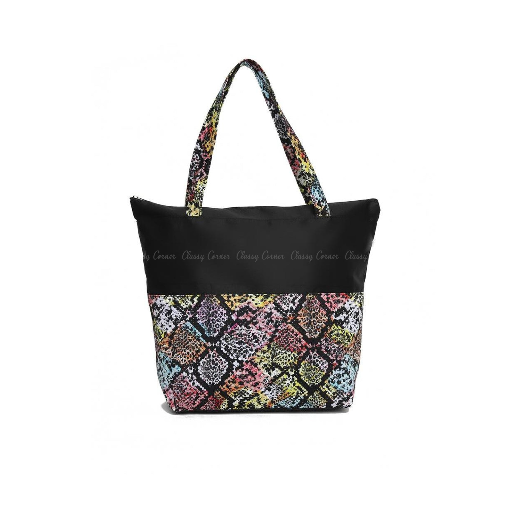 Multicolour Snake Skin Print with Zipper Black Beach Tote Bag