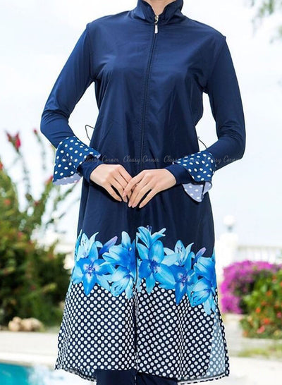 Cool Blue Floral Print Top