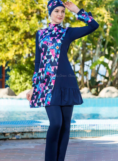 Dazzling Abstract Print Navy Blue Full BodysuitSwimsuit