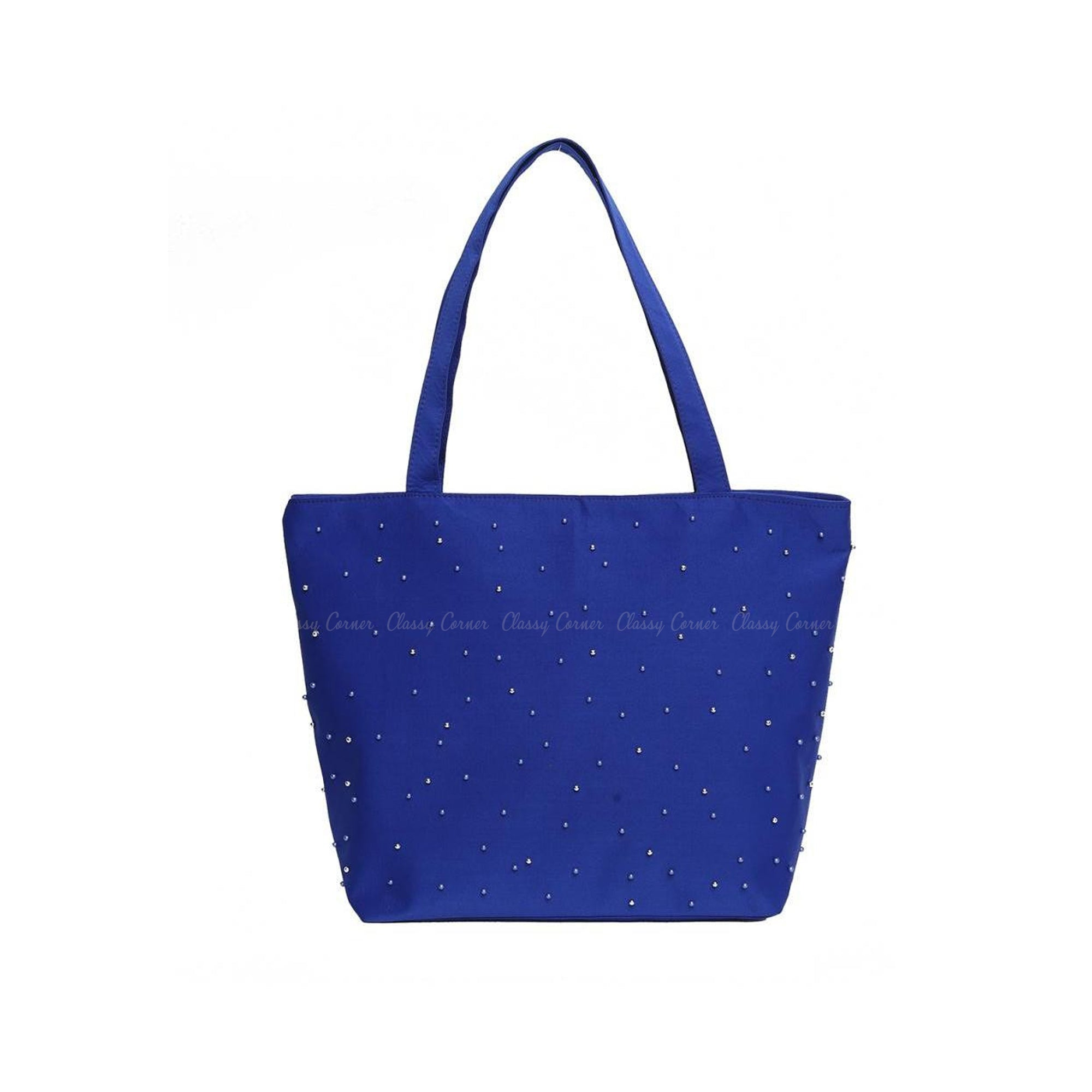 Blue Silver Beads Design with Zipper Blue Beach Bag