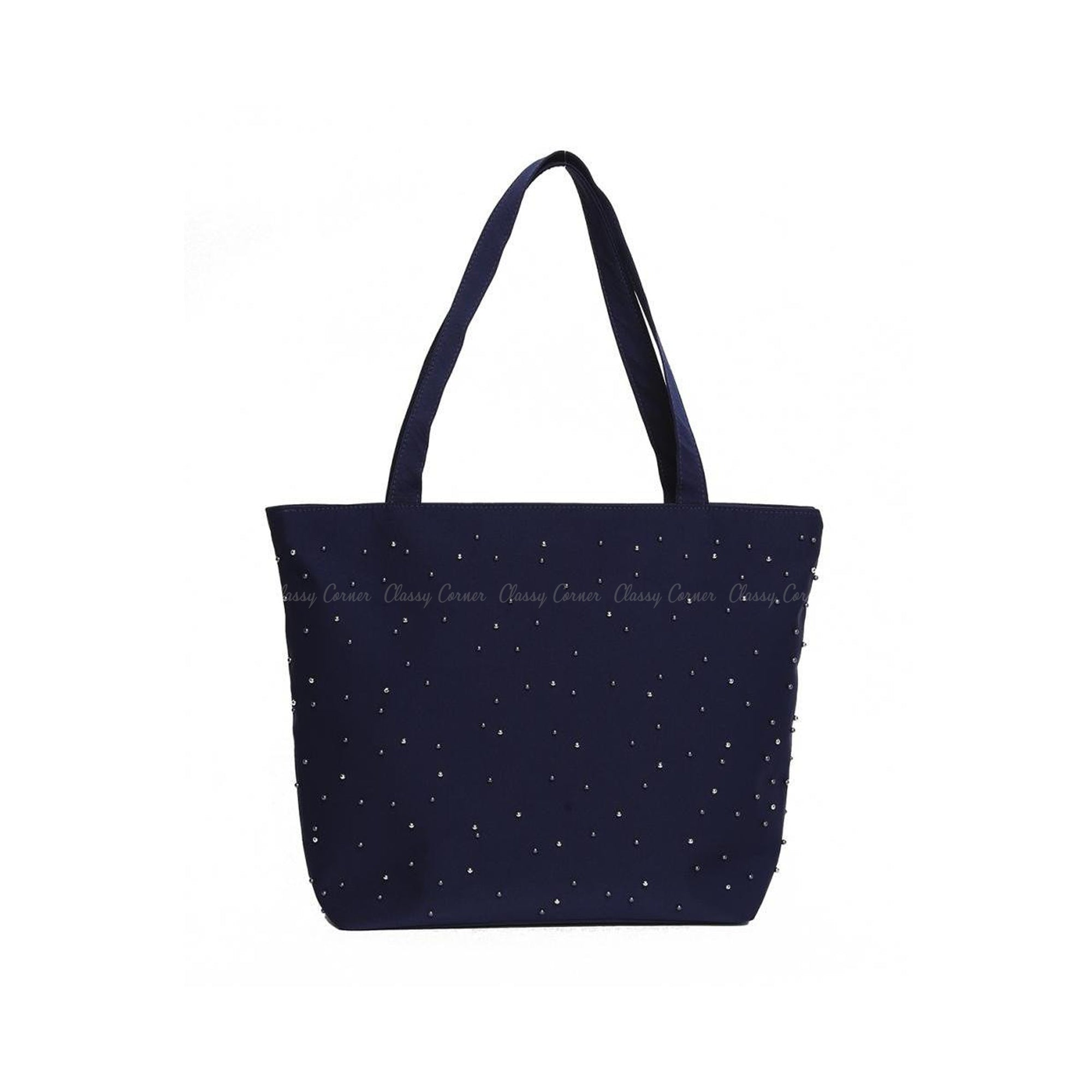 Navy Blue Silver Beads Design with Zipper Navy Blue Beach Tote Bag