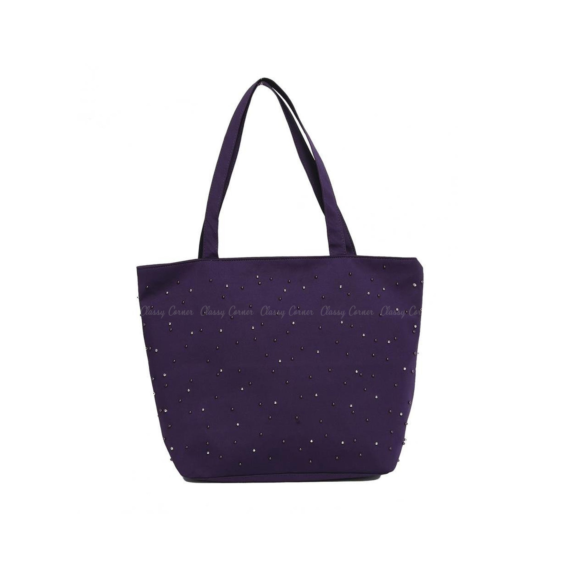 Purple Silver Beads Design Purple Zipper Beach Bag