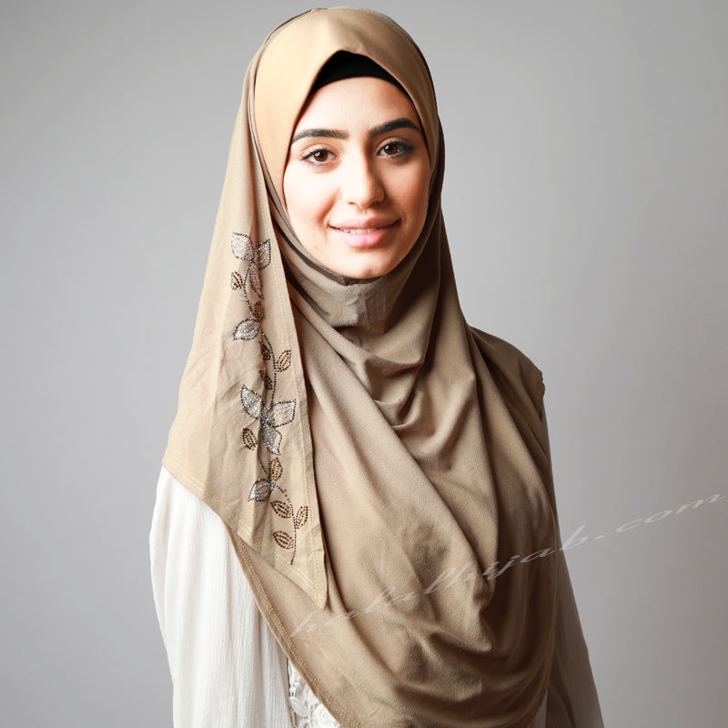 Dusty beige Golden silver, Hijab Australia, Hijab Women, Hijab House, Hijab style, Hijab fashion, How to wear Hijab,