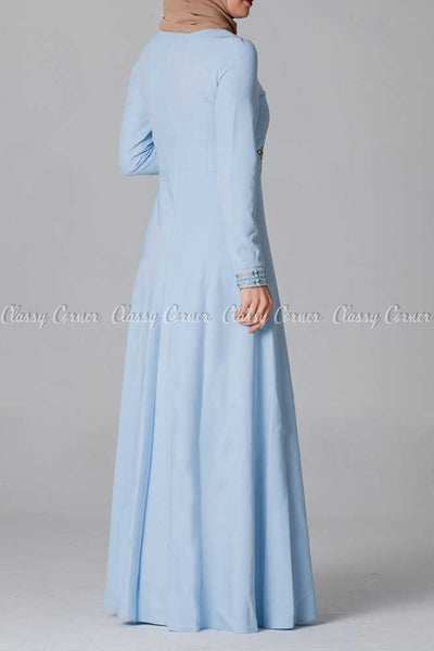 Elegant Embroidery Design Blue Modest Long Dress - back view