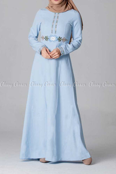 Elegant Embroidery Design Blue Modest Long Dress - front view