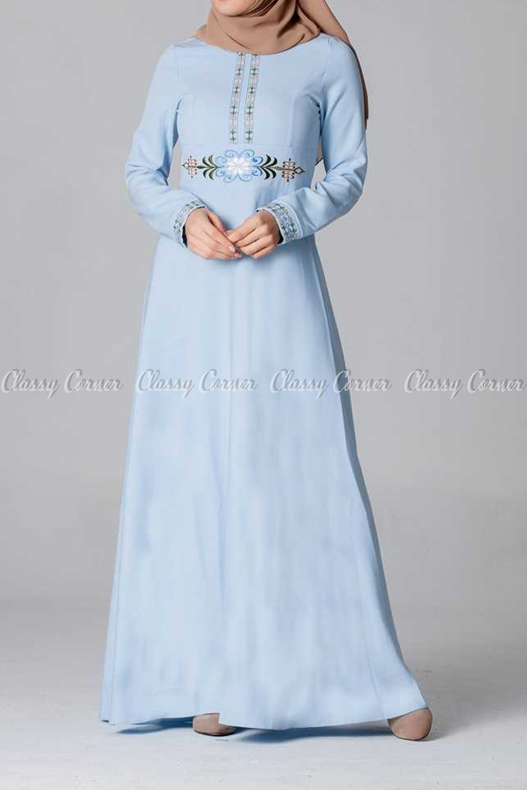 Elegant Embroidery Design Blue Modest Long Dress - full front view