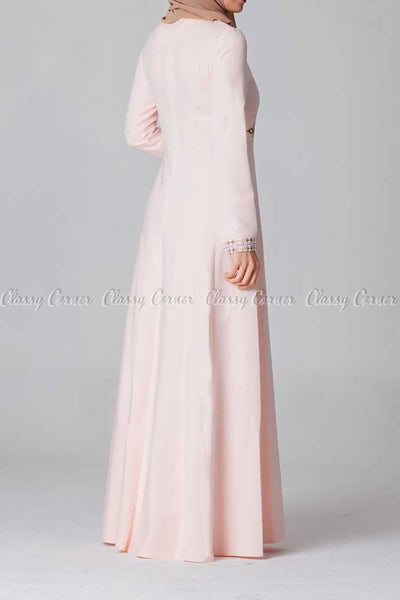 Elegant Embroidery Design Pink Modest Long Dress - back view