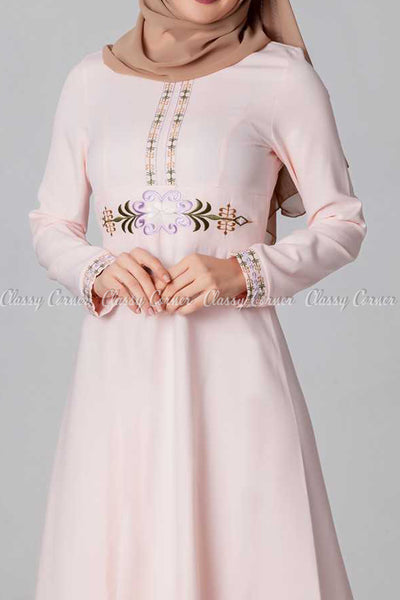 Elegant Embroidery Design Pink Modest Long Dress - closer view