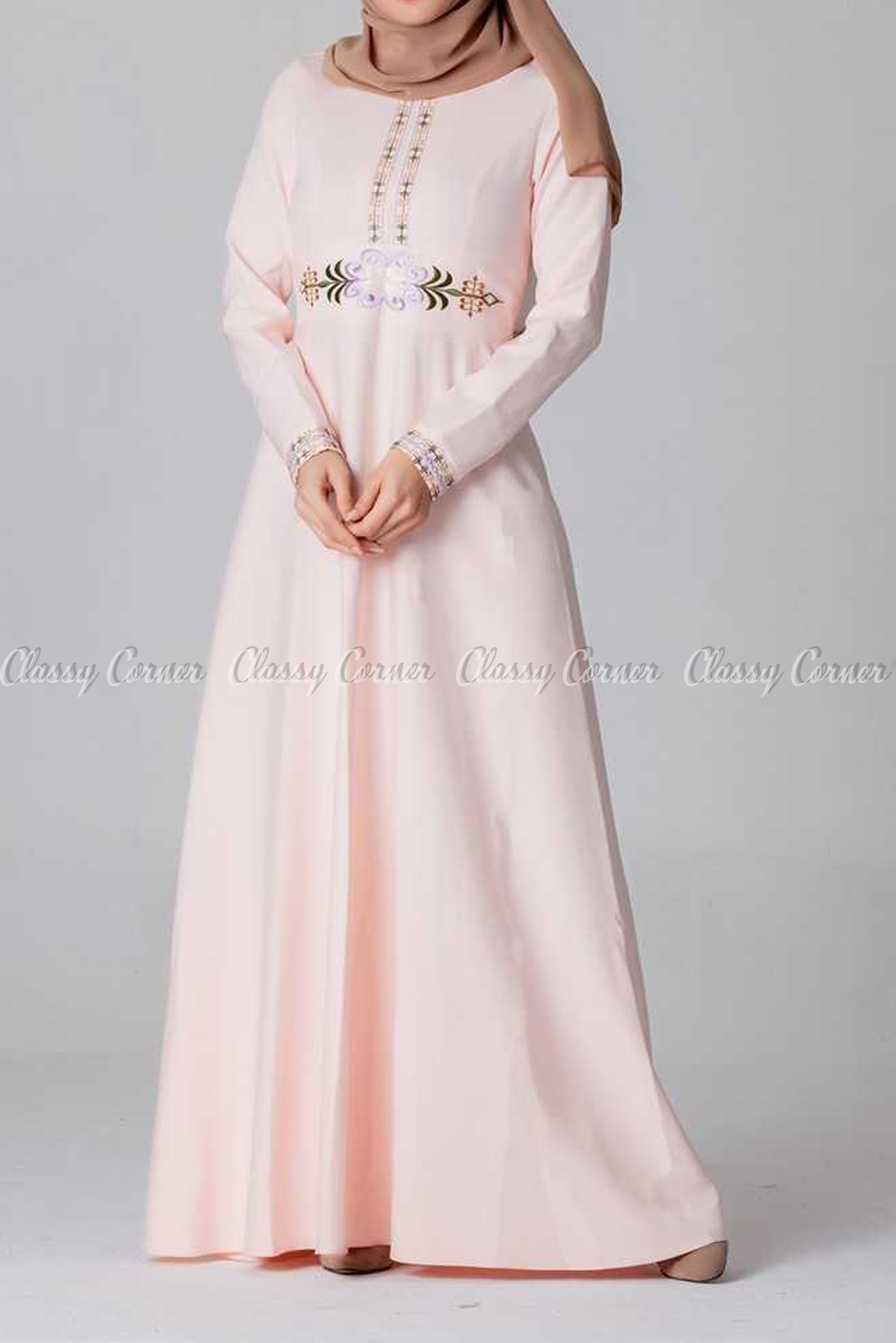 Elegant Embroidery Design Pink Modest Long Dress - full front view