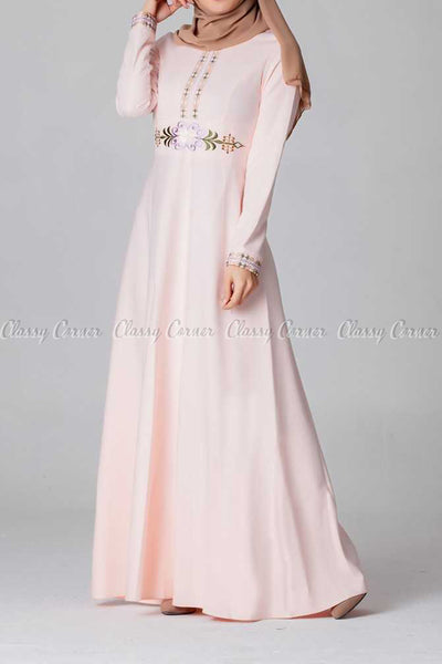 Elegant Embroidery Design Pink Modest Long Dress - right side view