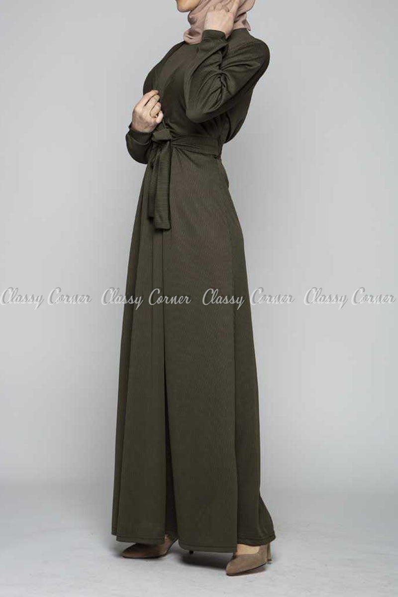 Elegant Khaki Green Modest Long Dress