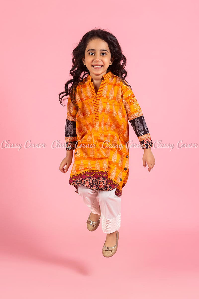Elegant Royal Print  Orange Kids Salwar Kameez